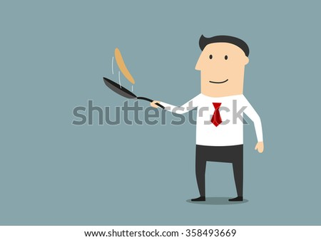 Cartoon smiling businessman making fresh pancakes on breakfast. Tasty and healthy breakfast concept design - stock vector