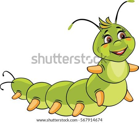 Cartoon Smiling Caterpillar Vector Stock Vector 567914674 ... Гусеница Вектор