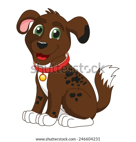 Cartoon smiling dark brown spotty puppy, vector illustration of cute dog wearing a red collar with gold tag, eps 10 - stock vector