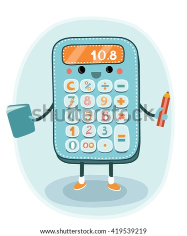 Cartoon smiling electronic calculator with hand and legs character  for education or finance design - stock vector