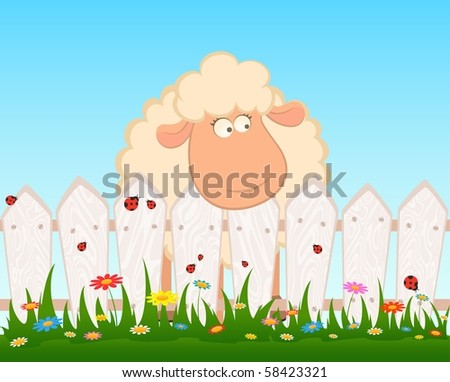Cartoon smiling sheep after a fence - stock vector