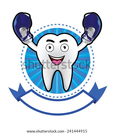Cartoon Smiling tooth banner - stock vector