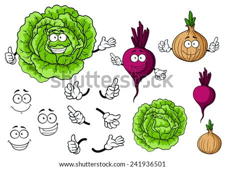 Cartoon smiling vegetable characters with fresh cabbage, onion and beet for organic food and healthy eating concept design - stock vector