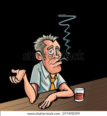 Cartoon smoker sitting at a bar with a drink - stock vector