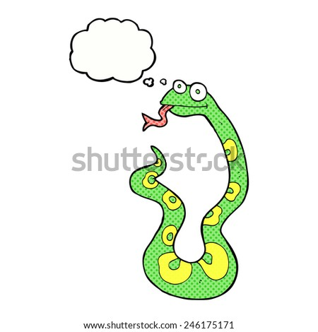 cartoon snake with thought bubble