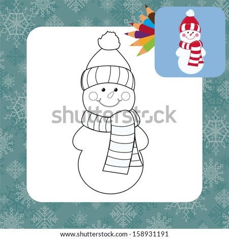 Cartoon snowman. Coloring page. - stock vector