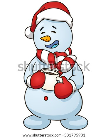 Sitting Snowman Christmas Theme New Year Stock Vector ...