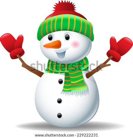 Cartoon snowman wearing hat and gloves  - stock vector