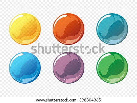 Cartoon soap bubble set. Circle, sphere, ball transparent, glossy. Vector illustration - stock vector