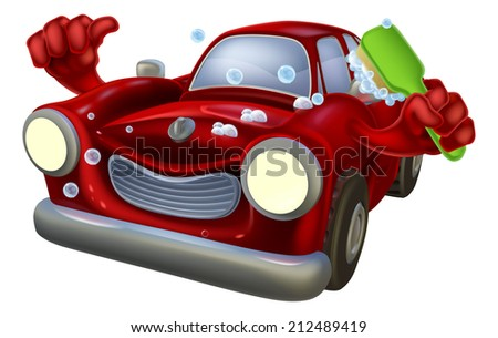 Cartoon soapy car wash character  giving a thumbs up and scrubbing himself with a brush - stock vector