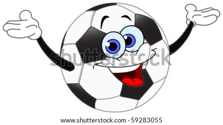 Cartoon soccer ball raising his hands - stock vector