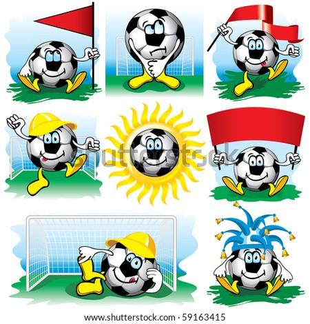 Cartoon soccer ball, vector set - stock vector