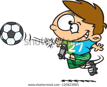 cartoon soccer boy kicking a soccer ball