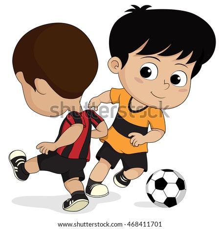 cartoon soccer kidsvector and illustration