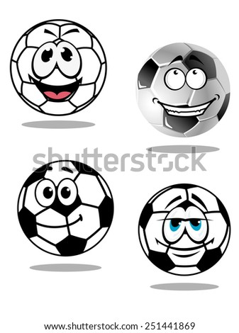 Cartoon soccer or football characters with happy smiling faces, two with goofy droopy eyes, isolated on white background - stock vector