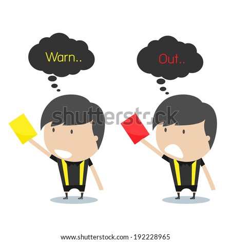 Cartoon soccer referees holding red and yellow card. Vector illustration. - stock vector