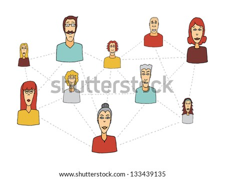 Cartoon social network / People connecting - stock vector