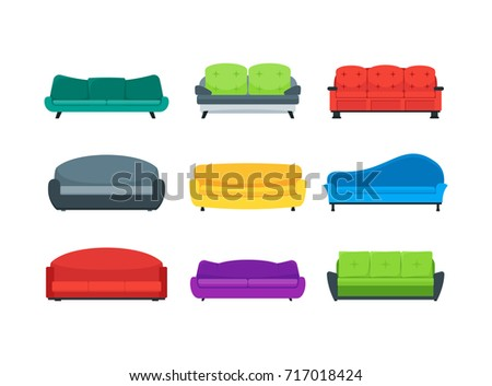 cartoon sofa couch color icons set stock photo (photo, vector