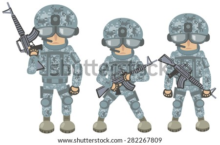 cartoon soldier - stock vector