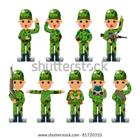 cartoon Soldier icons set - stock vector