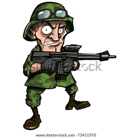 Cartoon soldier isolated on white. He has jungle camouflage on