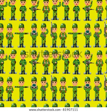 cartoon Soldier seamless pattern - stock vector
