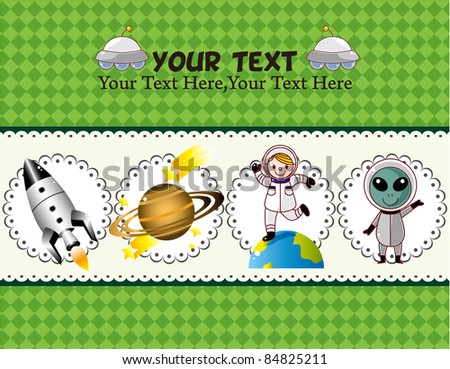 cartoon space card - stock vector
