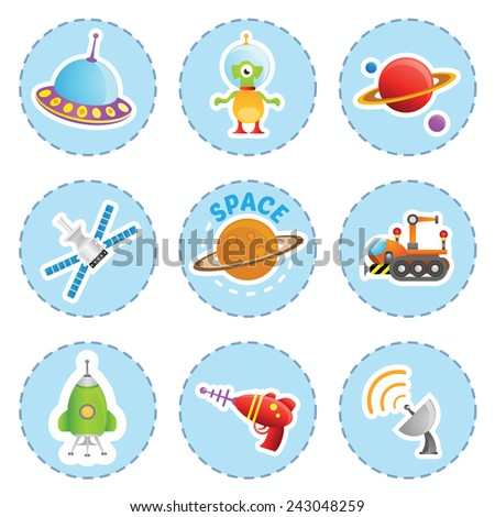 Cartoon space element icons set - stock vector