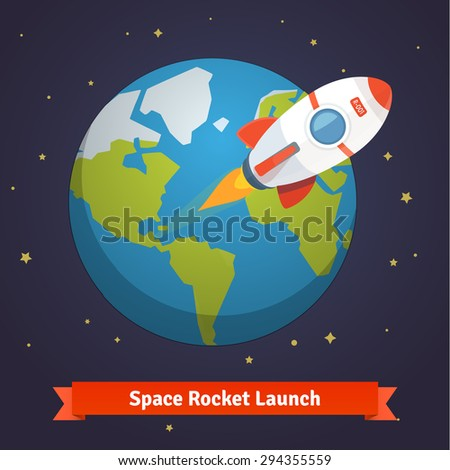 Cartoon space rocket leaving earth orbit and going into deep space. Flat style vector illustration background. - stock vector