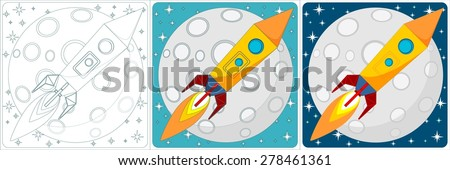 Cartoon Space Rocket on a Background of Yellow Moon and a Starry Blue Sky in the Space. Set. Stock Vector illustration. - stock vector