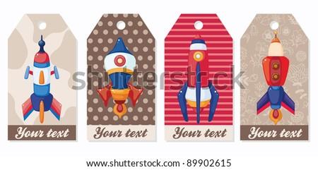 cartoon spaceship card - stock vector
