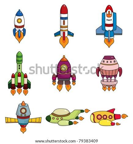 cartoon spaceship icon set - stock vector