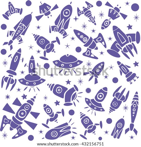 Cartoon spaceship icons. Kid's elements for scrap-booking. Hand drawn vector illustration.