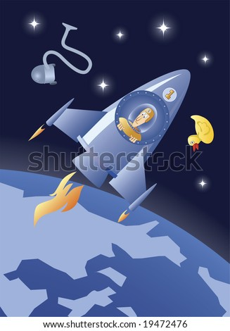 Cartoon spaceship number one and some garbage on its orbit - stock vector