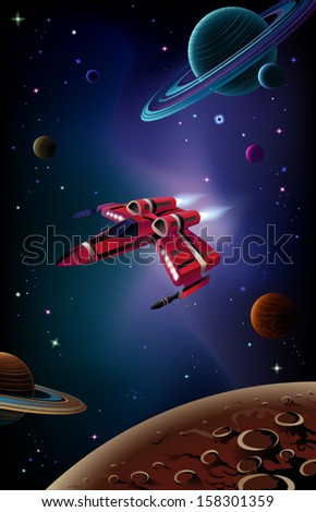 Cartoon spaceship with planets,stars and space background. Vector. - stock vector