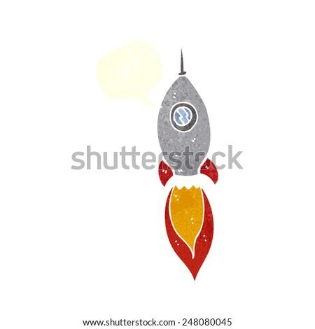 cartoon spaceship with speech bubble - stock vector