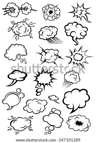Cartoon speech bubbles and explosion clouds in comics style with motion trails and lightnings for comic book expression and dialog design - stock vector