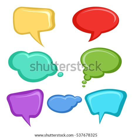 Cartoon speech bubbles set design. Colorful speech bubbles isolated on white vector illustration