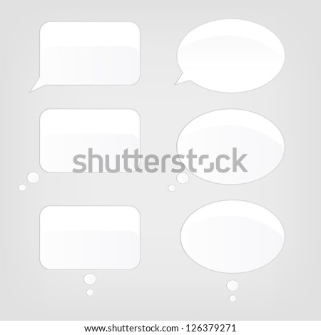 Cartoon Speech Bubbles Set on Grey Background. Vector. - stock vector
