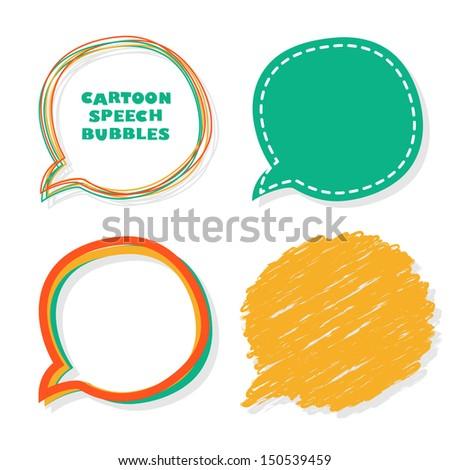 Cartoon speech bubbles. Vector illustration. - stock vector