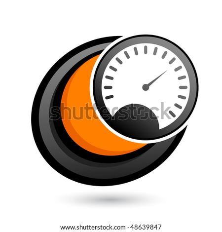 cartoon speedometer sign - stock vector