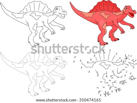 Cartoon Spinosaurus. Dot to dot educational game for kids. Vector illustration - stock vector