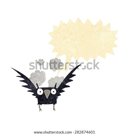 cartoon spooky bird with speech bubble - stock vector
