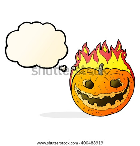 cartoon spooky pumpkin with thought bubble - stock vector