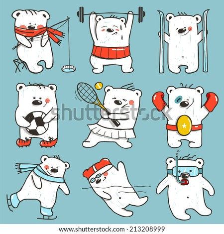 Cartoon Sport Bears in Action Collection. Nine athletic simple bears set. Vector illustration. - stock vector