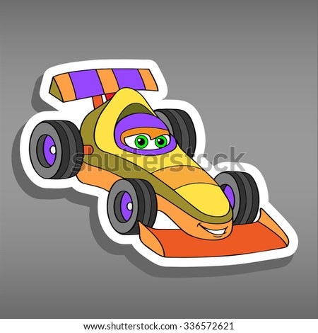 Cartoon sport car sticker for boys. Vector illustration for scrapbook. Transportation Doodle Background. Funny racing rally smile car icon. Comic character for kids on grey background
