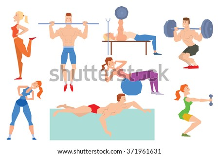 Cartoon sport gym people group exercise on fitness ball. Sport gym fitness people isolated on white background. Gym people, sport activity - stock vector
