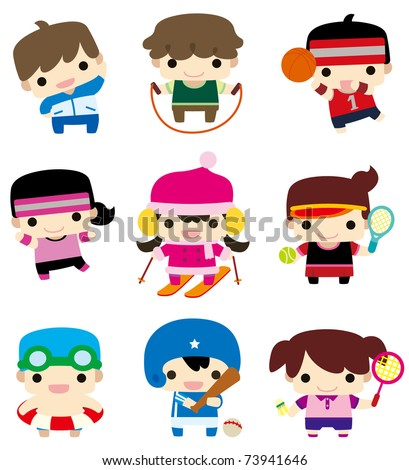 cartoon sport player icon - stock vector