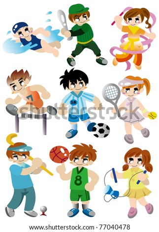 cartoon sport player icon set - stock vector