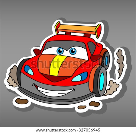 Cartoon sport red car sticker for boys. Vector illustration for scrapbook.Transportation Doodle Background. Funny smile car icon with dust from the wheels. Comic character for kids on grey background